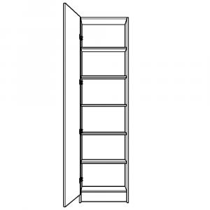 Shallow depth single wardrobe with 5 shelves