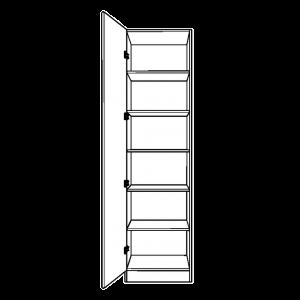 Single Wardrobe with Fixed Internal Shelving