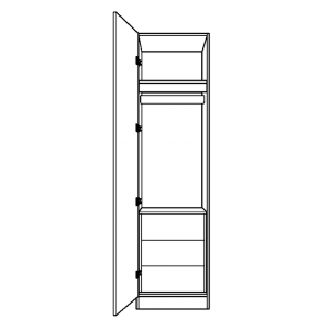 Single wardrobe with single half height hanging space and 3 internal drawers