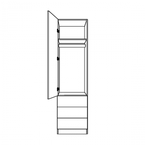 Single Wardrobe with 3 External Drawers and long hanging space