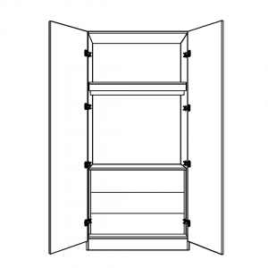 Double Wardrobe with Single Hanging Space and 3 Internal Drawers