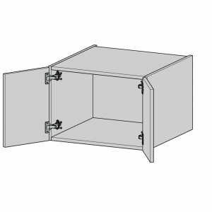 Top Box Cabinet has two doors with side opening hinges and come complete with wall fixing brackets