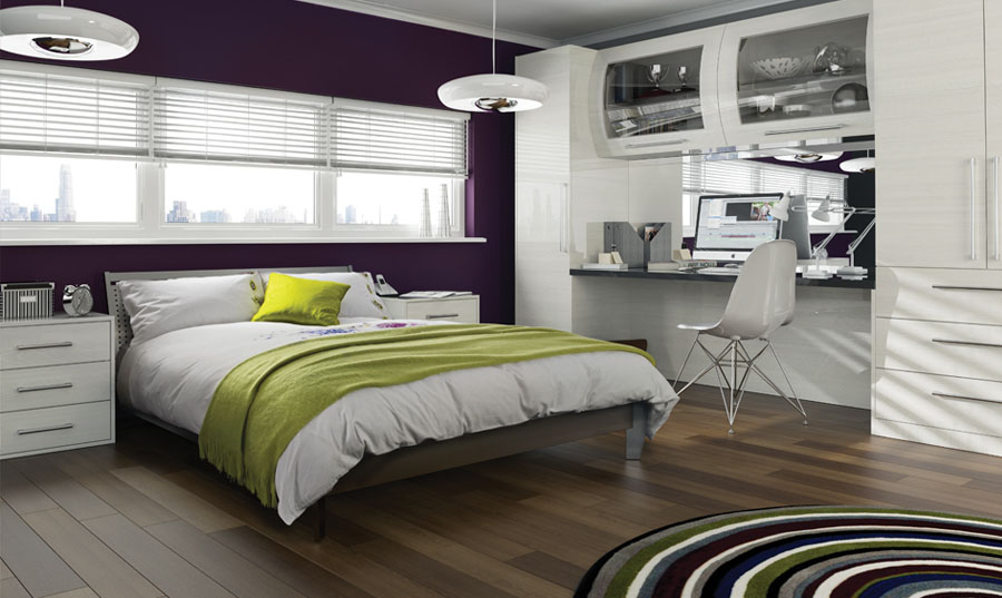 Bella High Gloss Snow Larch Venice fitted Bedroom