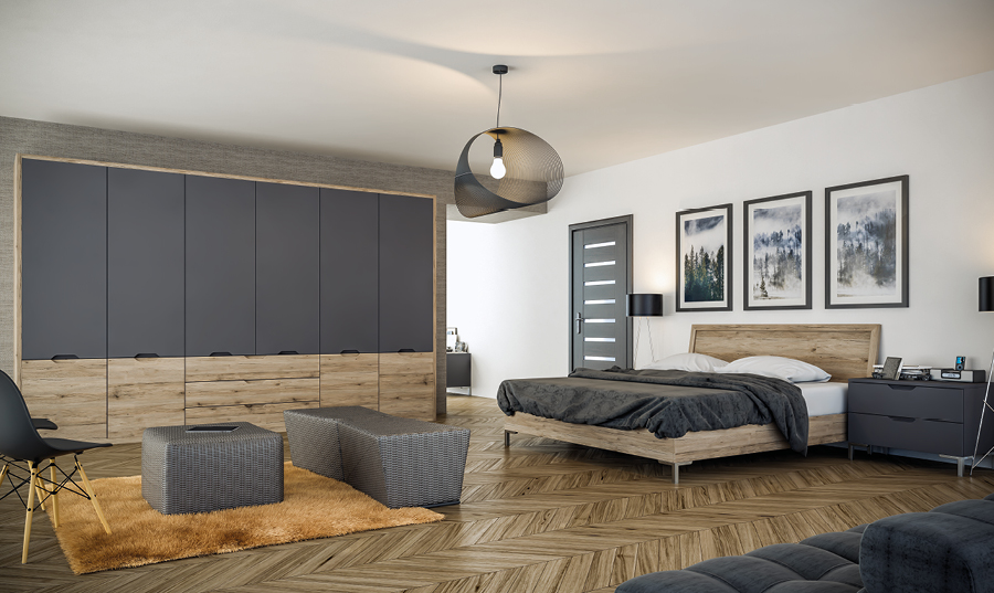 Bella Matt Graphite San Remo Rustic Integra fitted Bedroom