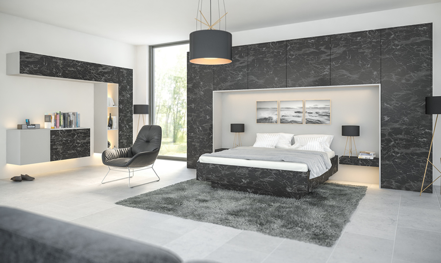 Zurfiz Oriental Black Supermatt Light Grey fitted Bedroom