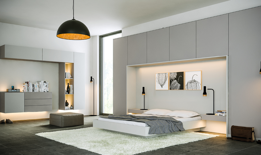 Zurfiz Supermatt Dust Grey and Supermatt Light Grey fitted bedroom