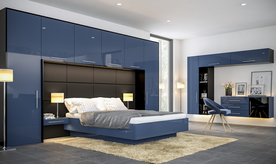 Zurfiz Ultragloss Baltic Blue and Ultragloss Black fitted Bedroom
