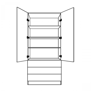 Double wardrobe with 3 external drawers and fixed internal shelving