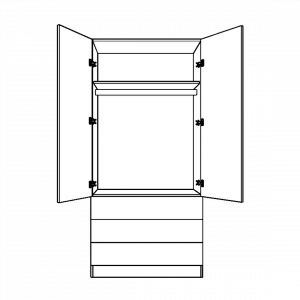 Double wardrobe with 3 external drawers and long hanging interior