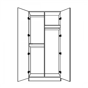 Double Wardrobe with Double Single Hanging and Full Long Hanging Space