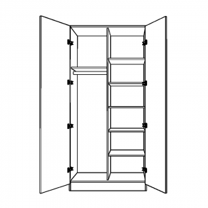 Double Wardrobe with Full Height Half Width Shelving and Full Height Long Hanging
