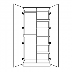 Double Hanging Wardrobe with Half Shelves Interior