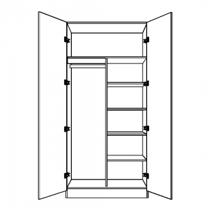 Double wardrobe with half shelving and long hanging