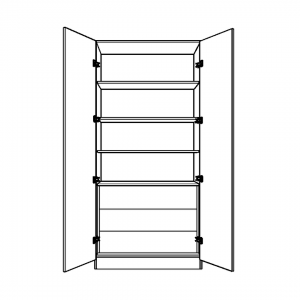 Double Wardrobe with Fixed Shelving and 3 internal Drawers