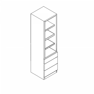 Single Wardrobe with 3 External Drawers and Fixed Internal Shelving